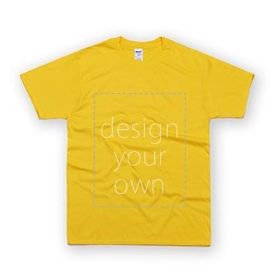 客製 局部 印花 黃色 純棉 中性 T恤 Black Cotton Neutral T-shirt