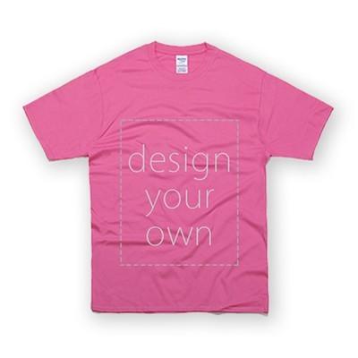 客製 局部 印花 蜜桃紅 純棉 中性 T恤 Black Cotton Neutral T-shirt