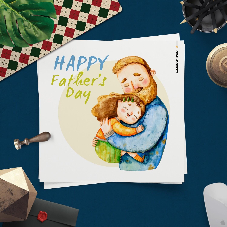[設計圖樣][父親節父與女水彩插畫] 素材 全品項 適用