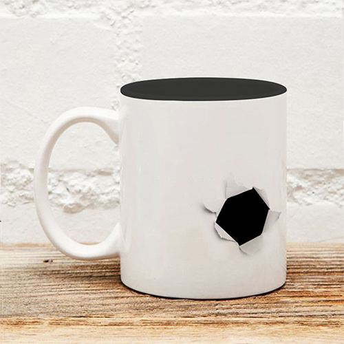破裂的黑色內彩馬克杯