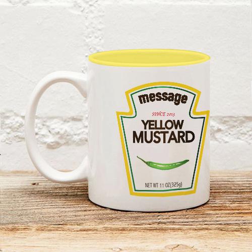 芥末醬黃色內彩馬克杯