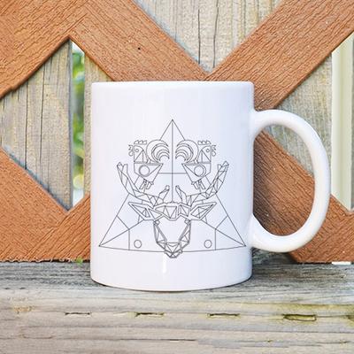 幾何麋鹿白瓷馬克杯