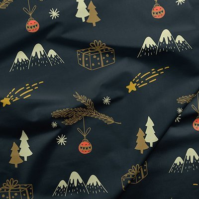 [設計圖樣] 聖誕 靛 藍 手繪 布花 Christmas doodle