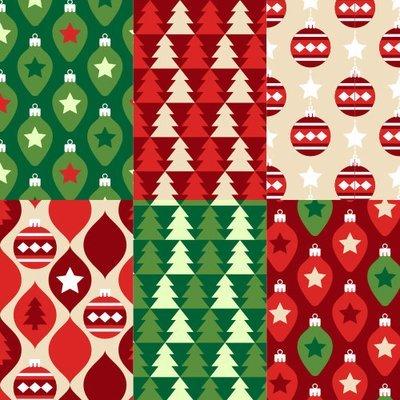 [設計圖樣] 聖誕 紅 綠 幾何 元素 布花 Lovely christmas pattern