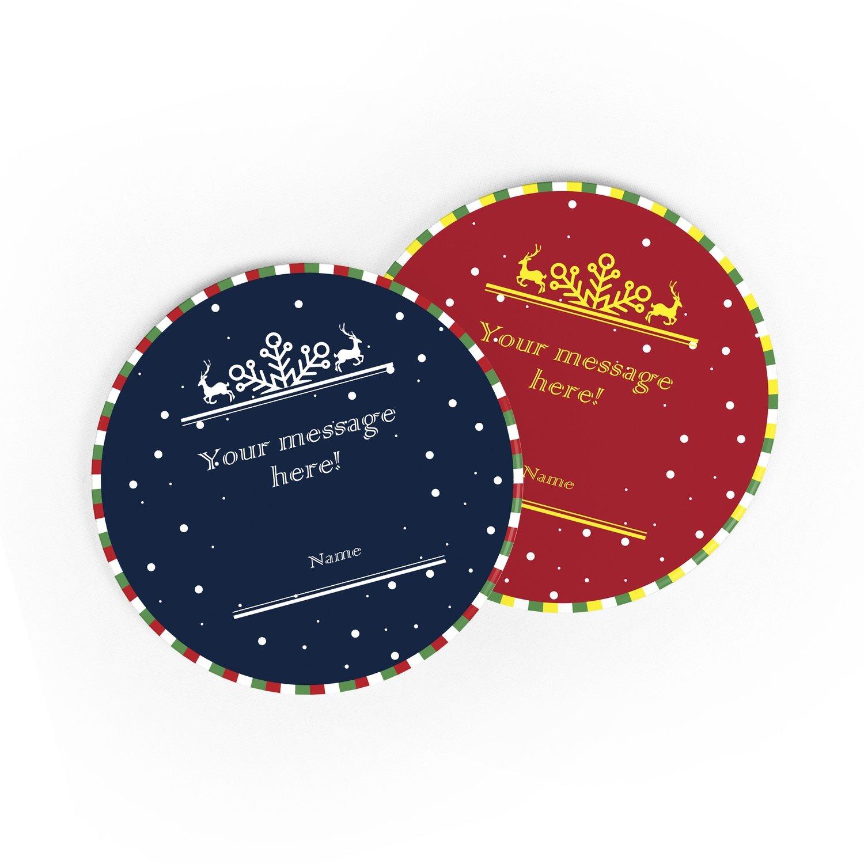 [設計圖樣] 聖誕 麋鹿 圓形 杯墊 Elk circle coaster