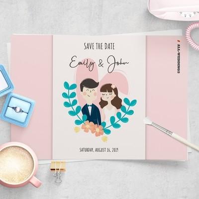 [設計圖樣][婚紗雙人與花草] 婚禮 插畫 全品項 適用