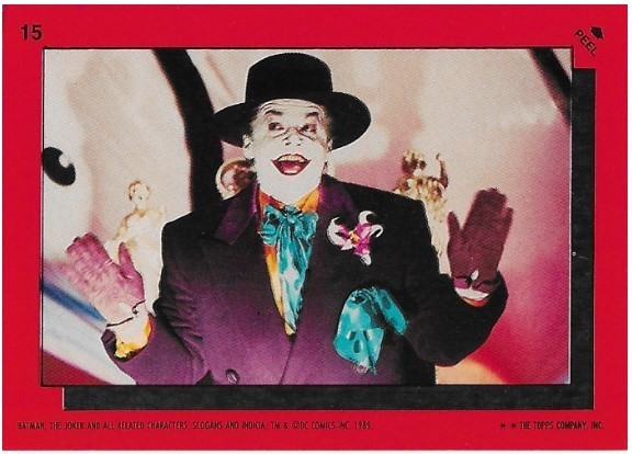 Batman / The Joker | Topps #15 | Movie Trading Card | Sticker | 1989 | Jack Nicholson