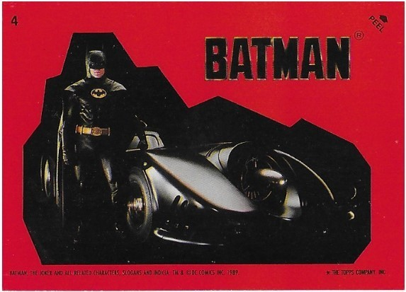 Batman / The Batmobile | Topps #4 | Movie Trading Card | Sticker | 1989 | Michael Keaton