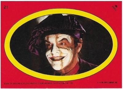 Batman / The Joker - Oval | Topps #21 | Movie Trading Card | Sticker | 1989 | Jack Nicholson