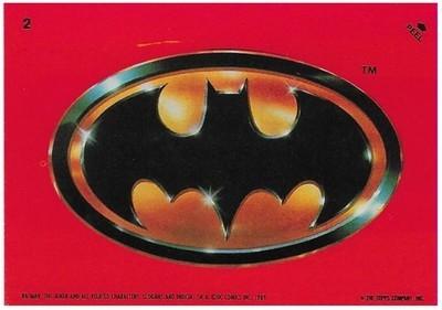 Batman / Batman Logo | Topps #2 | Movie Trading Card | Sticker | 1989 | Jack Nicholson