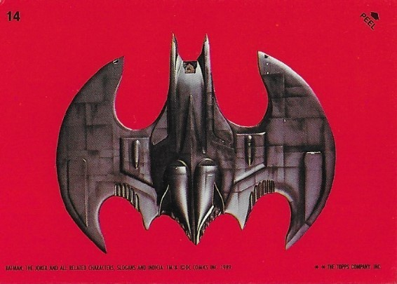 Batman / The Batwing - Top View | Topps #14 | Movie Trading Card | Sticker | 1989