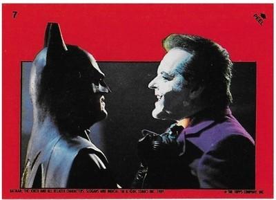Batman / Batman vs. Joker | Topps #7 | Movie Trading Card | Sticker | 1989 | Michael Keaton + Jack Nicholson