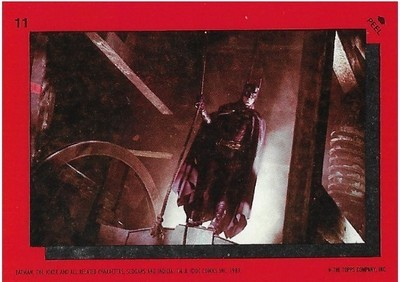 Batman / Batman with Rope | Topps #11 | Movie Trading Card | Sticker | 1989 | Michael Keaton