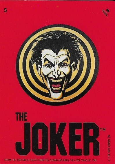 Batman / The Joker | Topps #5 | Movie Trading Card | Sticker | 1989 | Jack Nicholson