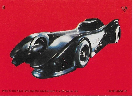 Batman / The Batmobile | Topps #8 | Movie Trading Card | Sticker | 1989