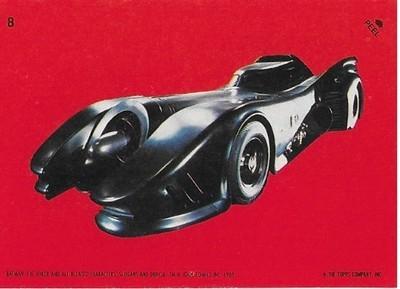 Batman / The Batmobile | Topps #8 | Movie Trading Card | Sticker | 1989