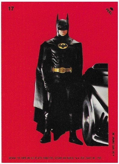 Batman / Batman with Batmobile   Topps #17   Movie Trading Card   Sticker   1989   Michael Keaton