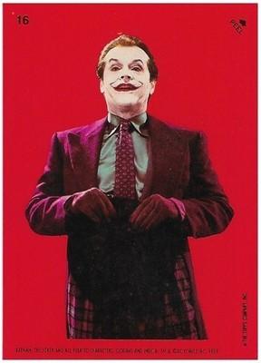 Batman / The Joker - Holding Hat | Topps #16 | Movie Trading Card | Sticker | 1989 | Jack Nicholson