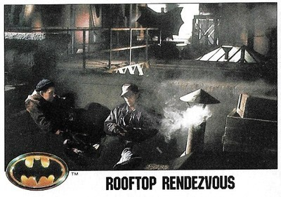 Batman / Rooftop Rendezvous | Topps #15 | Movie Trading Card | 1989 | Christopher Fairbank + George Roth