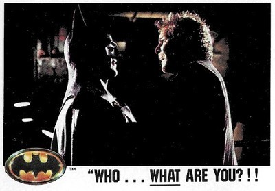 Batman / Who...What Are You?!! | Topps #18 | Movie Trading Card | 1989 | Michael Keaton + Christopher Fairbank
