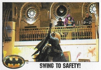 Batman / Swing to Safety! | Topps #75 | Movie Trading Card | 1989 | Michael Keaton + Kim Basinger