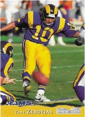 Zendejas, Tony / Los Angeles Rams   Pro Set #230   Football Trading Card   1993