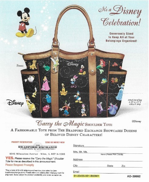 Bradford Exchange, The / Carry the Magic Shoulder Tote | Magazine Ad | 2019 | Disney