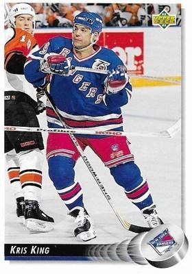 King, Kris / New York Rangers   Upper Deck #78   Hockey Trading Card   1992-93
