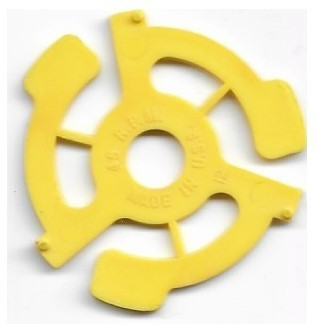 45 R.P.M. - Made in U.S.A. / Plastic | 45 RPM Adapter | Yellow | with Pins