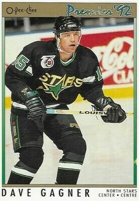 Gagner, Dave / Minnesota North Stars | O-Pee-Chee #128 | Hockey Trading Card | 1991-92 | Canada | Premier