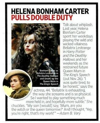 Carter, Helena Bonham / Pulls Double Duty | Magazine Article | November 2010