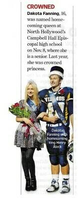 Fanning, Dakota / Crowned Homecoming Queen | Magazine Article | November 2010