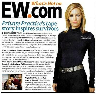 Strickland, KaDee / Private Practice's Rape Story Inspires Survivors | Magazine Article | November 2010
