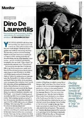 De Laurentiis, Dino / Remembering the Legendary Movie Producer | Magazine Article | November 2010