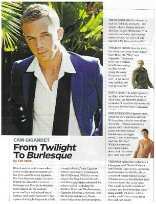Gigandet, Cam / From Twilight to Burlesque | Magazine Article | November 2010