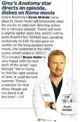 McKidd, Kevin / Grey's Anatomy Star Directs An Episode | Magazine Article | November 2010
