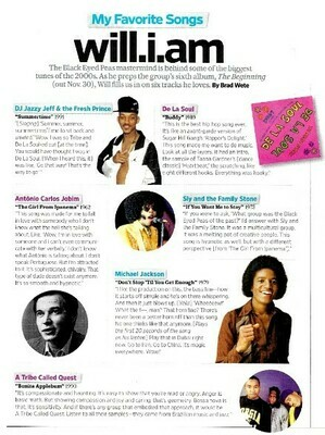 Will.I.Am / My Favorite Songs | Magazine Article | November 2010