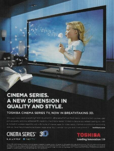 Toshiba / Cinema Series   Magazine Ad   November 2010