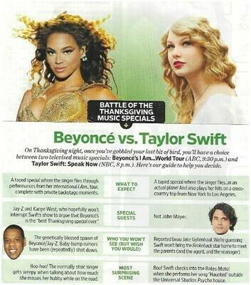 Swift, Taylor / Beyonce vs. Taylor Swift | Magazine Article | November 2010 | Beyonce