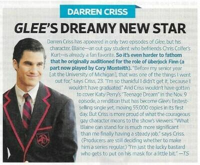Criss, Darren / Glee's Dreamy New Star | Magazine Article | November 2010