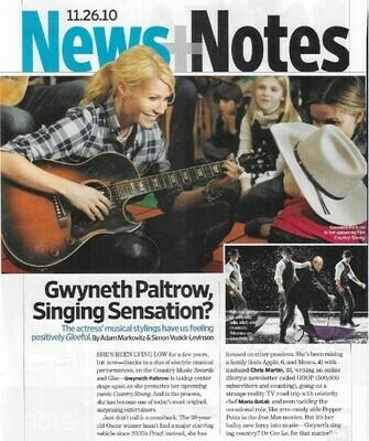 Paltrow, Gwyneth / Gwyneth Paltrow, Singing Sensation? | Magazine Article | November 2010