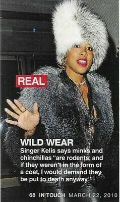 Kelis / Wild Wear   Magazine Photo with Caption   March 2010