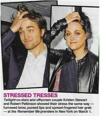Pattinson, Robert / Stressed Tresses   2 Magazine Photos with Caption   March 2010   with Kristen Stewart