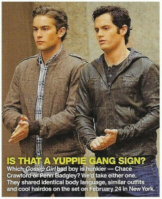 Crawford, Chace / Is That a Yuppie Gang Sign?   Magazine Photo with Caption   March 2010   with Penn Badgley