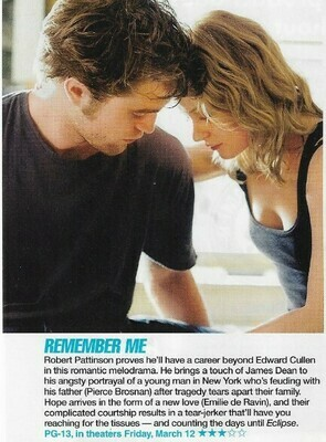 Pattinson, Robert / Remember Me | Magazine Review with Photo | March 2010 | with Emilie de Ravin