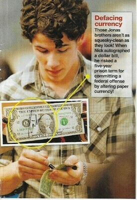 Jonas, Nick / Defacing Currency   Magazine Photo with Caption   March 2010