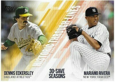 Eckersley, Dennis / Oakland Athletics | Topps #HTL-31 | Baseball Trading Card | 2019 | With Mariano Rivera | Hall of Famers