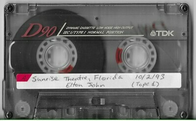 John, Elton / Fort Lauderdale, FL (Sunrise Theatre) | Live Cassette | October 1993 | Part 1