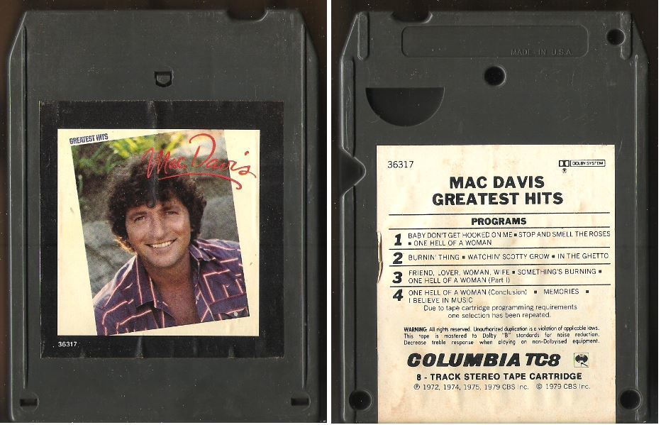 Davis, Mac / Greatest Hits (1979) / Columbia PCA-36317 (8-Track Tape)