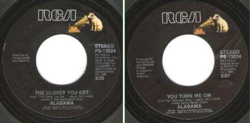 """Alabama / The Closer You Get (1983) / RCA PB-13524 (Single, 7"""" Vinyl)"""